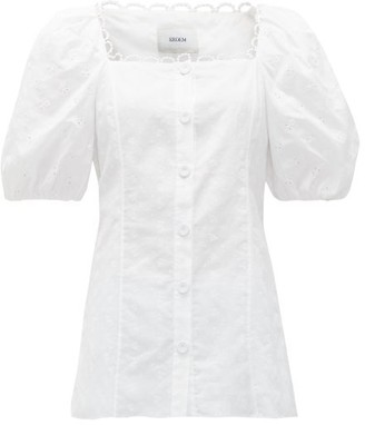 Erdem Inez Puff-sleeve Cotton Broderie-anglaise Blouse - Womens - White