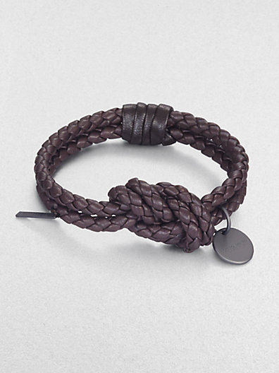 Bottega Veneta Intrecciato Leather Knot Bracelet