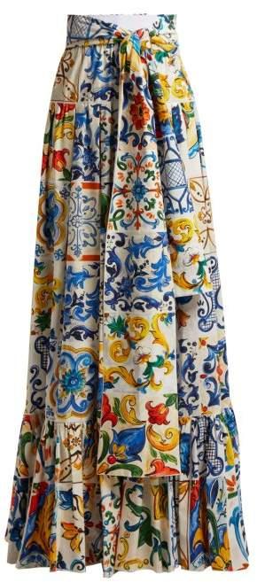 Dolce & Gabbana Majolica Print Tiered Cotton Maxi Skirt - Womens - White Print
