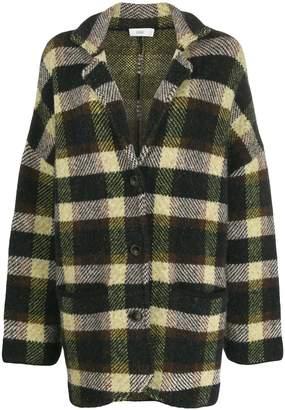 Closed oversized checked jacket