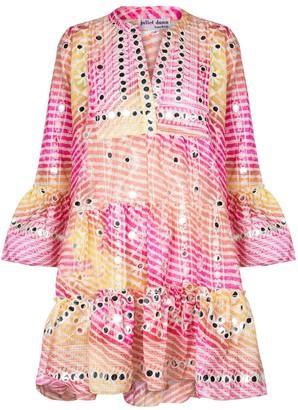 Juliet Dunn Striped embellished minidress