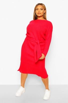 boohoo Plus Rib Knit Self Belted Midi Dress