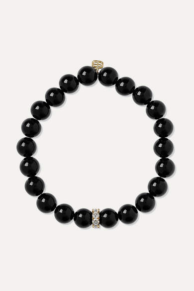 Sydney Evan Onyx, Diamond And 14-karat Gold Bracelet