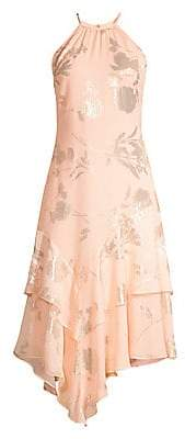 Parker Black Women's Ida Asymmetric Floral Foil Dress