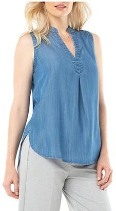 Liverpool Mandarin Collar Sleeveless Shirt (Cascade Dark) Women's Blouse