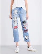 Aries Hand-painted straight cropped mid-rise jeans