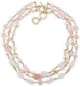 Carolee Gold-Tone Imitation Pearl and Rose Quartz Multi-Row Necklace