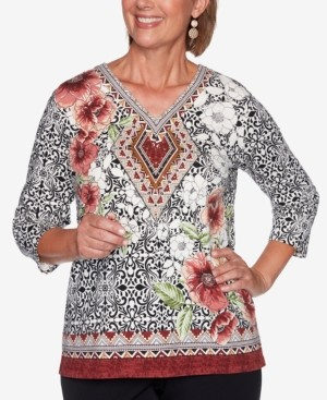 Alfred Dunner Petite Catwalk Medallion Border-Print Knit Top