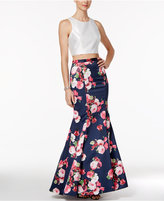 Xscape Evenings Two-Piece Floral-Print Mermaid Gown