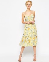 Asos Tiered Cami Midi Dress in Soft Floral