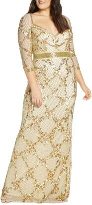 Mac Duggal Sequin & Bead Sweetheart Neck Gown
