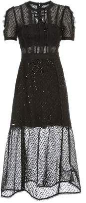 Self-Portrait Self Portrait Dress Mini Puff Sleeve Sequin Mesh