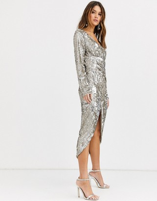 TFNC long sleeve sequin wrap midi dress with front drape details in silver and gold