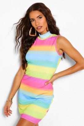 boohoo Rainbow High Neck Bodycon Dress