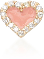 Alison Lou Coral Heart 14K Yellow Gold and Diamond Studs