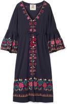 Figue Junie Embroidered Cotton-voile Midi Dress - Midnight blue