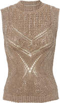 Alberta Ferretti Metallic Knit Sleeveless Sweater