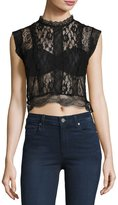 Romeo & Juliet Couture Sheer Lace Paneled Crop Top, Black