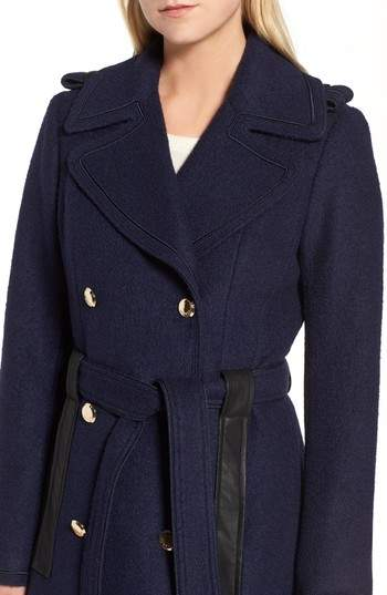 GUESS Women's Boiled Wool Trench Coat
