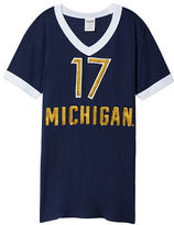 PINK University Of Michigan Bling V-Neck Ringer Tee