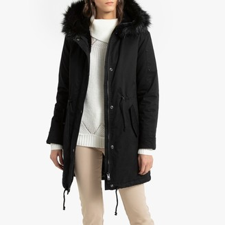 Anne Weyburn Mid-Length Winter Parka with Faux Fur Hood and Pockets