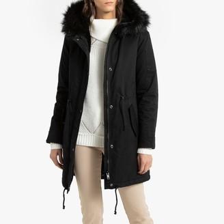 Anne Weyburn Warm Mid-Length Parka with Faux Fur Hood