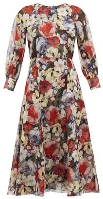 Erdem Yusra Floral-print Silk Voile Dress - Womens - Black Multi
