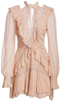 Jonathan Simkhai Striped Georgette Ruffled Long-Sleeve Dress