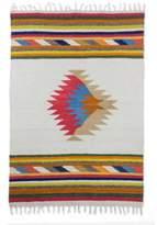 Geometric Spiral Wool Area Rug in Multicolor (4x6), 'Mayan Rays'