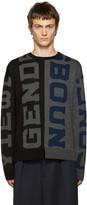 Juun.J Black and Grey Genderless Sweater