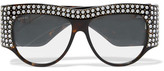 Gucci D-frame Crystal-embellished Acetate Sunglasses - Black