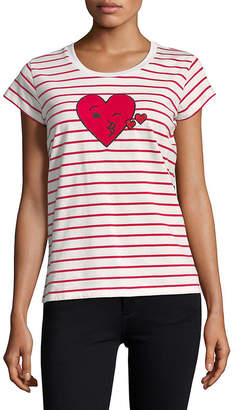 French Connection Striped Heart T-Shirt