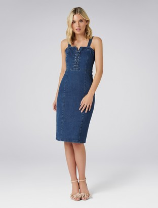 Forever New Abbie Lace-Up Denim Dress - Mid Blue - 4