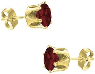 Savvy Cie 18K Yellow Vermeil Garnet 4mm Stud Earrings