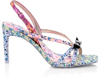 Sophia Webster Laurellie Floral-Print Silk & Leather Slingback Sandals