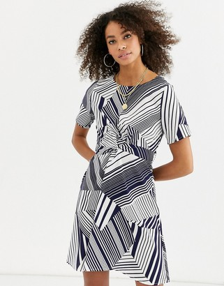 Asos Urban Bliss tanya knot front dress in mixed stripe-Navy