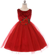 Red Velvet Rose-Applique Sleeveless Dress - Toddler & Girls