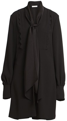 Chloé Satin Tieneck Crepe Shirtdress
