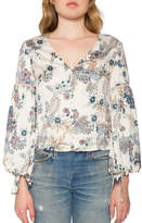 Willow & Clay Print Tie Cuff Blouse