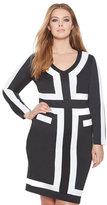 ELOQUII Plus Size Contrast Colorblock Dress
