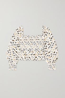 Rixo Eloise Cropped Shirred Printed Cotton-poplin Top - White