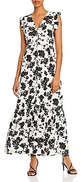 Notes du Nord Orchid V-Neck Flounce Maxi Dress