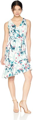 Maggy London Women's Petite Print Scuba Fit and Flare with Ruffle Hem