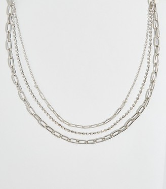 New Look Triple Chain Diamante Layered Necklace