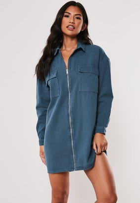 Missguided Blue Utility Pocket Zip Through Denim Dress