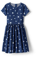 Classic Girls Pattern Chambray Twirl Dress-Indigo Stars
