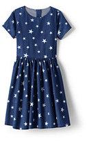Lands' End Girls Plus Pattern Chambray Twirl Dress-Indigo Stars