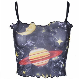 Beetlenew Womens Blouses Women's Crop Tops Summer Sexy Sleeveless Mesh Perspective Graphic Print Strappy Tank Top Camisole with Moon Star Pattern Casual Beach Party Cami Shirt Vest Blouse for Teen Girls (M