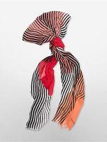 Calvin Klein Womens Geometric Arcs + Stripes Scarf