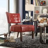 HomeSullivan Red Vinyl Accent Chair in Cherry Finish